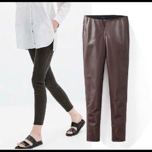 Zara Basic Faux Leather Legging NWT size L